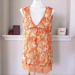 PINKY SHEER FLORAL PRINT V-NECK LACE TRIM TANK TOP